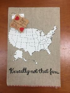 Really Not That Far Linen Hand Towel US Map Near or Far Heart Guest Bath