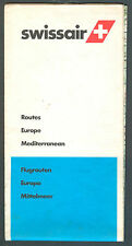 ORIGINAL BROCHURE SWISSAIR MAP OF ROUTES EUROPE MADITERANEAN