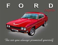 "10928 - Ford Capri 12"" x 16"" Vintage Metal Steel Advertising Sign Plaque"