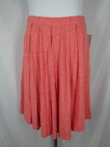 Lularoe Madison Skirt Size XL Coral Heather Pockets Pleated New