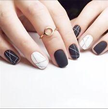 24 x Fashion Matte Black and White Art Short Fake False Nails Tip Stickers glue