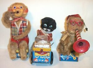 LOT OF (3) VINTAGE 1950's-60's BATTERY OPERATED TIN LITHO JAPAN TOYS
