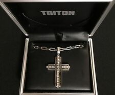 Triton 1/3 CT. Diamond Cross  Pendant w/ Necklace in Stainless Steel