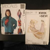 Sewing Patterns-McCall's P405 & Kwik Sew 214 UC S-M-L Ladies Jackets &Nightgowns
