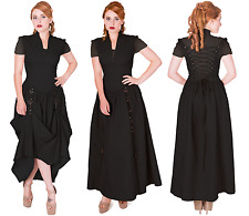 BNWT Banned Women Rise of Dawn Gothic Long Black Dress Steampunk Cute Victorian