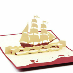 DAD 3D SHIP greeting card boat sailing SEA Dad Husband father friend pop up NEW