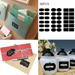 36pcs Chalk Board Stickers Decals Fancy Rectangles Oval Kitchen Jar Labels Tags