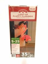 Holiday Time Light-Up Fluffy Flamingo Outdoor Christmas Décor, 35 in New