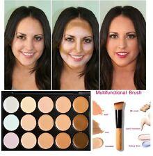 Contorno de la cara de 15 Colores Maquillaje Antiojeras Camuflaje Paleta neutral y cepillo de #1