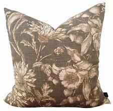 Anastasia Pearl Gray Linen Cotton Floral French Vintage Designer Pillow Cushion