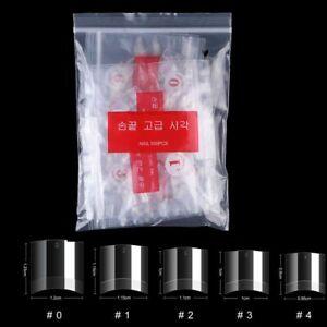 500Pcs Half Cover Short Length Square Nail Tips 10Sizes Short Transparent Clear