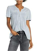 Lucky Brand Women's Short Sleeve Button Up Striped-Knit, Blue Stripe, Size Small