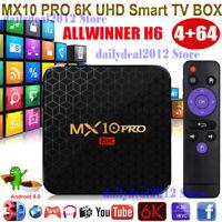 6K HD MX10 PRO 4+64G Android 9.0 Quad Core TV BOX HDMI USB3.0 WIFI Media Player