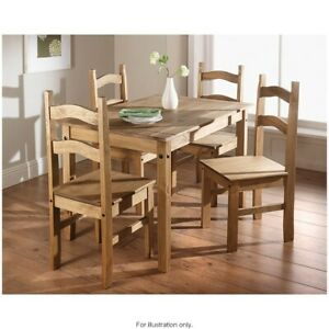 Beautiful Rustic Rio 5 Piece Dining Set Solid Natural Waxed Pine Furniture New