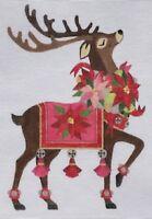 "Needlepoint Handpainted Raymond Crawford Christmas REINDEER #1 12"""