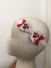 Christmas~Disney~Minnie Mouse ~Red~Synthetic Leather~Girl~Hair Bow~Headband