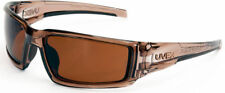 Uvex Hypershock Safety Glasses Smoke Brown Frame and Espresso Polarized Lens