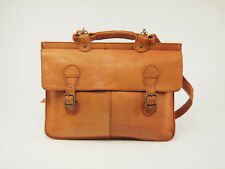 1980s COLOMBIAN LEATHER Vintage 16'' Tan Flapover Slim Briefcase