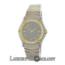 Mint Ladies Ebel 181930 Wave Diamond Bezel Stainless Steel 18K Gold Quartz Watch