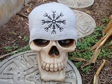 helm of awe gray embroiderd beanie hat thors viking asatru norse amon amarth