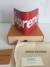AUTH Louis Vuitton X Supreme **Sold out** Slender Red Leather Wallet Limited Ed
