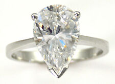 3 ct Pear Ring Vintage Brilliant Top Russian CZ Moissanite Simulant Size 4