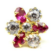Real Gold Nose stud 14K Ethnic Pink white CZ Indian piercing nose ring Push Pin