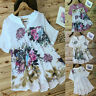 Women Vintage V-Neck Floral Patch Short Sleeves Tunic Tops Lady Tee Shirt Blouse