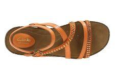 Clarks  Ladies Orange Leather AUTUMN PEACE Sandals Size 6 D