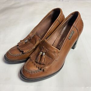 RUSSELL & BROMLEY CHESTER Tan Brown Leather Heeled Loafers Size EU 38 / US 8