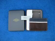 Fossil Mens Leather Multi Card Front Pocket ID Window Wallet Elgin Design - New