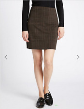 BNWT M&S Collection Black Brown Check Mini Skirt Size 16 Length 18""