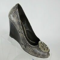 Tory Burch Python Snake Embossed Leather Julianne Peep-toe Wedge Pumps Size 9