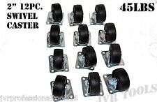 """(Qty-12) 2"""" Swivel Caster Wheels Hard Rubber Base with Top Plate & Bearing"""