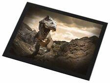 3D Dinosaur by Rocks Black Rim Glass Placemat Animal Table Gift, DIN-3GP
