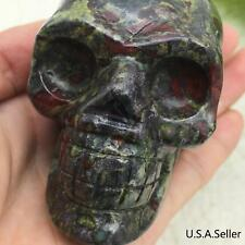 "2.9"" Dragan Blood Natural Crystal Carved Skeleton Realistic Healing Skull #7026"