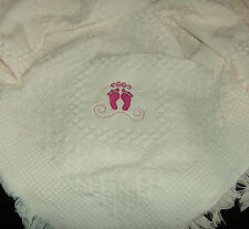 Deluxe Baby Shawl Pink With Embroidered Feet Design, newborn, perfect gift