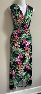 Tommy Bahama Orchid Isle Faux Wrap V-Neck Long Dress~M