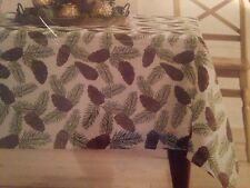 "St Nicholas Square: 70"" Round Christmas Winter Pine Cone Tablecloth Seating 4-6"