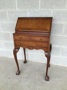 VINTAGE DIMINUTIVE FIGURED MAHOGANY BALL & CLAW TILT TOP WRITING DESK