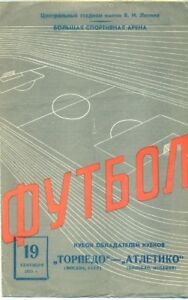 Programme Torpedo Moscow USSR - Athletic Club Bilbao Spain 1973 Cup Winners Cup