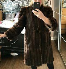 Good ladies stripy brown real fur mid knee length shoulder pads COAT / JACKET. M