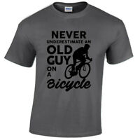 NEVER UNDERESTIMATE OLD GUY T SHIRT CYCLING BIKE CYCLIST MENS GIFT IDEA