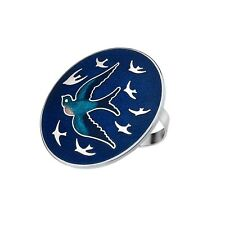 ATTRACTIVE ENAMELLED SWALLOW BIRD BLUE SCARF RING IN PRESENTATION BOX