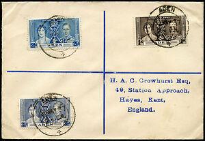 ADEN KG6 1937 CORONATION FIRST DAY COVER REGISTERED...CROWHURST ENVELOPE