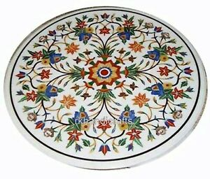30 Inches Marble Center Table Top Inlay with Colorful Flower Art Coffee Table