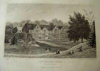 1830 Antique Print of PITCHFORD HALL ~ Steel Engraving ~ Wrighton / Calvert