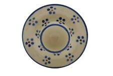 Boleslawiec ? Polish Pottery Blue White Brown Soft Egg Cup Dish Plate Holder
