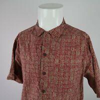 L.L. Bean Red Tan Short Sleeve Button Front Ancient Art Pirnt Shirt Mens Medium