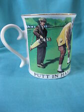 Putt in Haste & Repent at Leisure, Golfers Mug, porcelain, gilt rim, golf